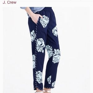 J. CREW navy blue reese pant in graphic peony